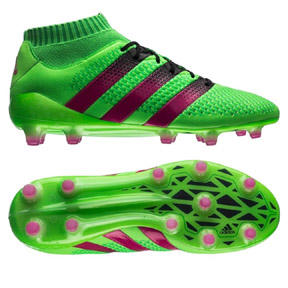 adidas ACE  16.1 Primeknit FG/AG Soccer Shoes (Solar Green/Pink)