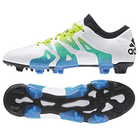 adidas Youth X 15.1 FG/AG Soccer Shoes (White/Solar Slime)