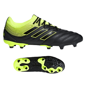 adidas Copa 19.3 FG Soccer Shoes (Core Black/Solar Yellow)