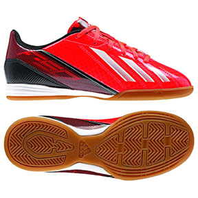 adidas Youth F10 Indoor Soccer Shoes (Infrared/White)