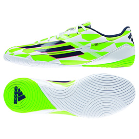 adidas F10 Indoor Soccer Shoes (White/Green)