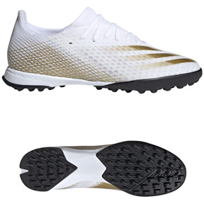 adidas  X  Ghosted.3 Turf Soccer Shoes (Cloud White/Gold)