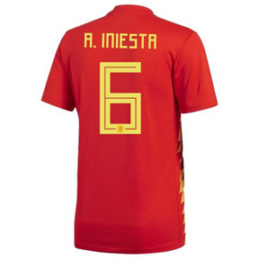 adidas Youth Spain Iniesta #6 Soccer Jersey (Home 18/19)