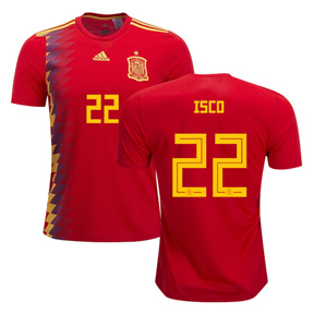 adidas Spain Isco #22 Soccer Jersey (Home 18/19)