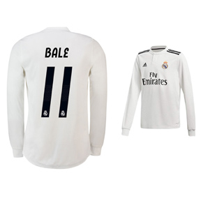 adidas Youth Real Madrid Bale #11 Long Sleeve Jersey (Home 18/19)