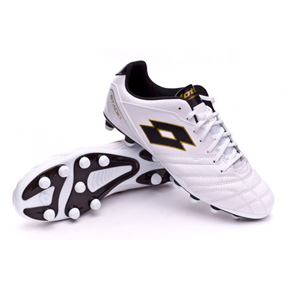 Lotto Stadio 300 FG Soccer Shoes (White/Gold/Black)