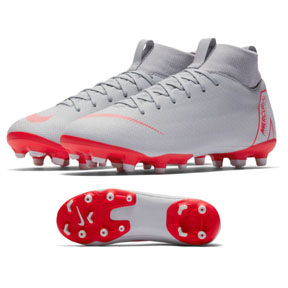 Nike Youth Superfly 6 Academy MG Soccer Shoes (Gray/Crimson)