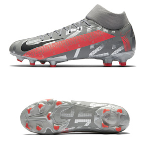 Nike   Superfly 7 Academy FG Soccer Shoes (Metallic Grey/Pink)