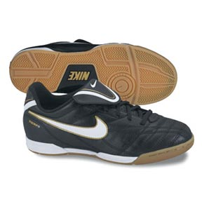 Nike Youth Tiempo Natural III Indoor Soccer Shoes (Black/White/Gold)