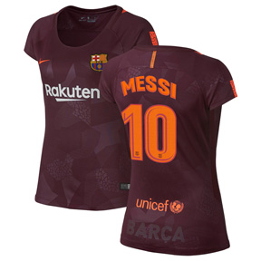 Nike Womens Barcelona Messi #10 Soccer Jersey (Alternate 17/18)