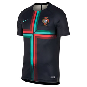 Nike Portugal Squad Soccer Training Jersey (Black/Kinetic Green)