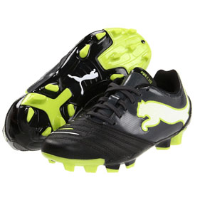 Puma Youth Powercat 3.12 FG Soccer Shoes (Black/Lime)