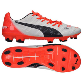 Puma evoPower 1.2 FG Soccer Shoes (White/Lava)